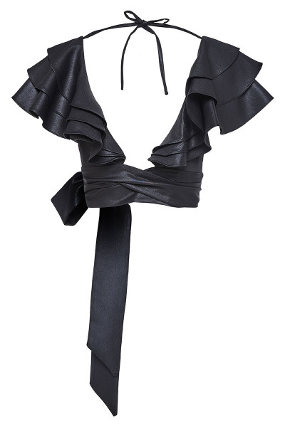 Wraparound Leather Look Top With Ruffle Detail Shoulders