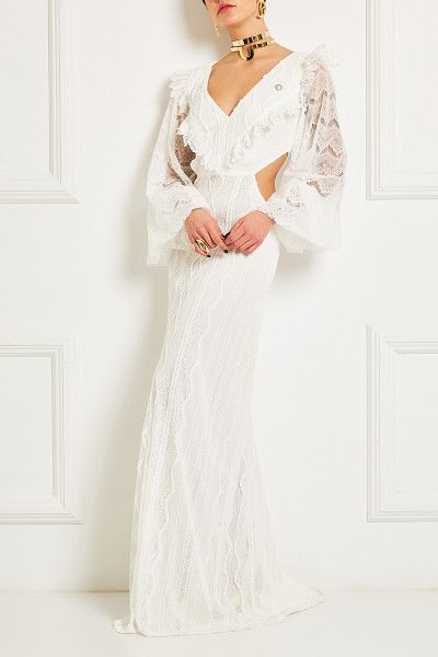 Cutout Maxi Lace Dress With Long Puffed Sleeves