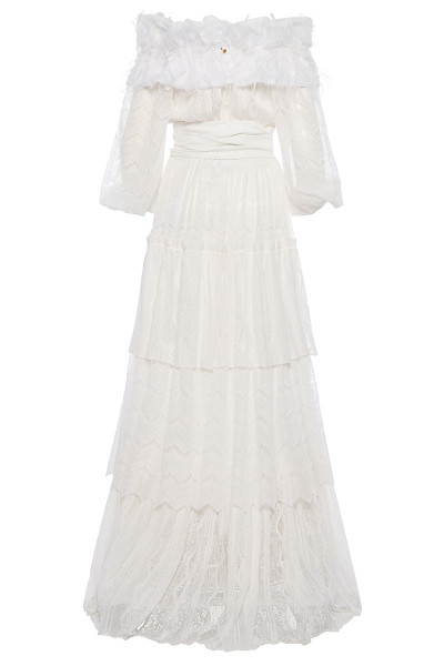 Off-The-Shoulder Tiered Ruffle Maxi Lace Dress With Puffed Bell Sleeves And Fringe Detailed Neckline
