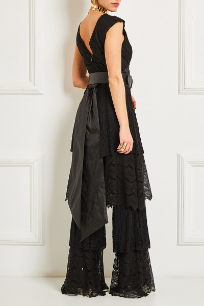 Tiered Ruffle Wide Leg Lace Jumpsuit