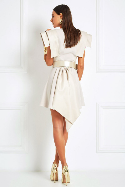 Belted Vest-Dress With Geometric Boxy Shoulders & Asymmetrical Balloon Bottom