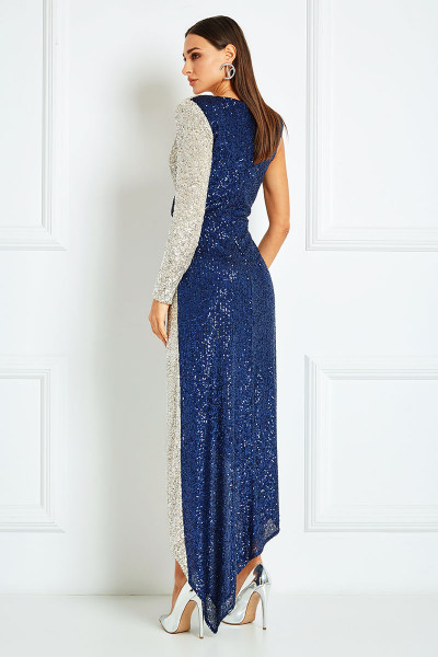 Asymmetrical Maxi Dress With Thigh-High Slit In Silver-Sapphire Blend Sequin