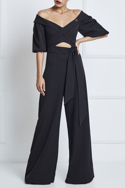 Short-Sleeved Off-The-Shoulder Cutout Jumpsuit