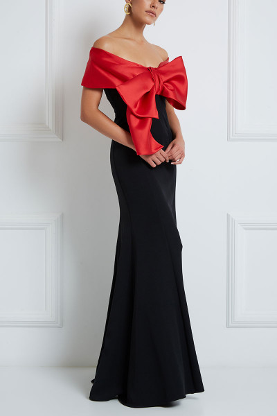 Double-Coloured Maxi Dress With Portrait Neckline And Detachable Bow Embelished Bodice