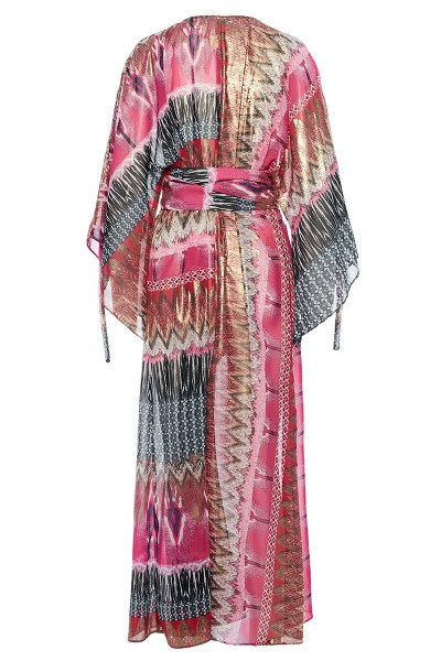 Maxi Printed Caftan With Angel Sleeves And Rhomboid Accessory Belt