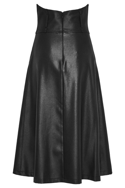 Faux Leather High-Rise Pleated Long Skirt