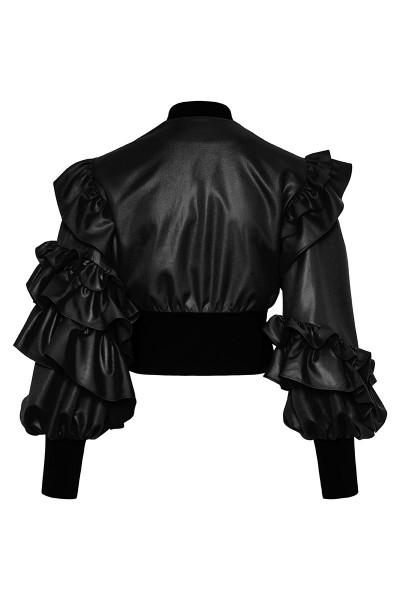 Ruffled Faux Leather Bomber Jacket