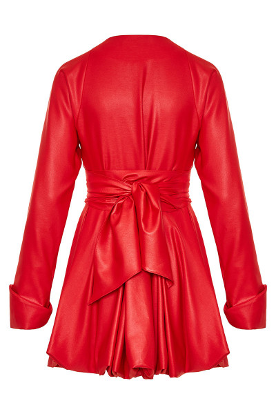Faux Leather Semizie Trench Coat / Dress