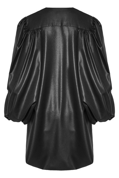 Faux Leather Puffed Sleeve Asymmetric Cape