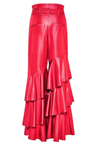 Wide-Leg Ruffled Pants