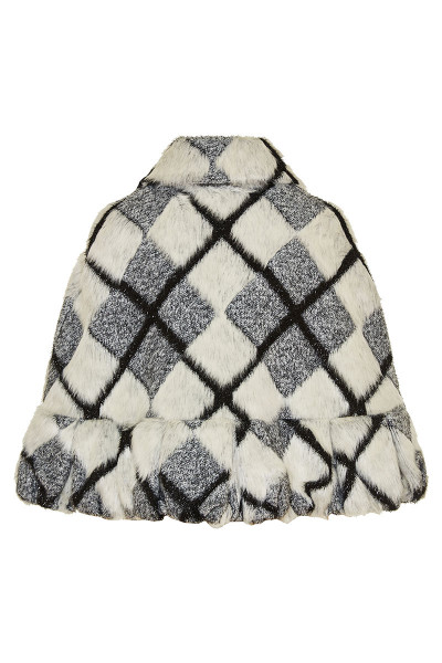Shinny Checked Faux Fur Cape