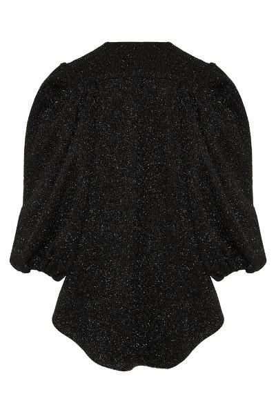 Shinny Faux Fur Wool Blend Asymmetric Cape