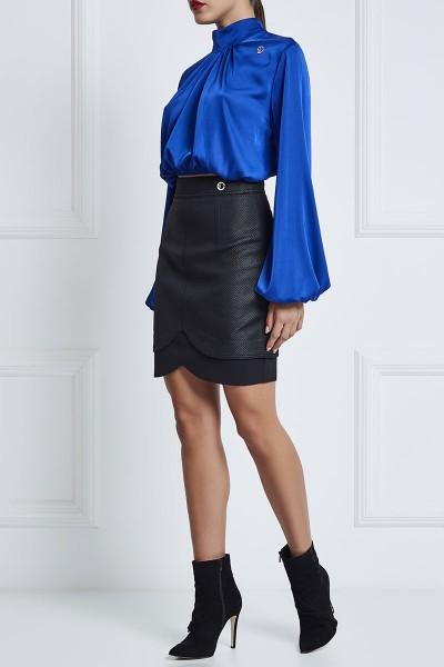 Waffle Leather Layered Mini Skirt