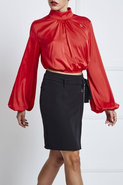 Mock-Collar Satin Crop Top With Front Pleats