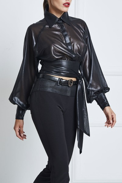 Leather Chiffon Lacquer Wraparound Crop Shirt