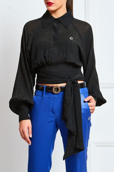 Textured Georgette Wraparound Crop Shirt