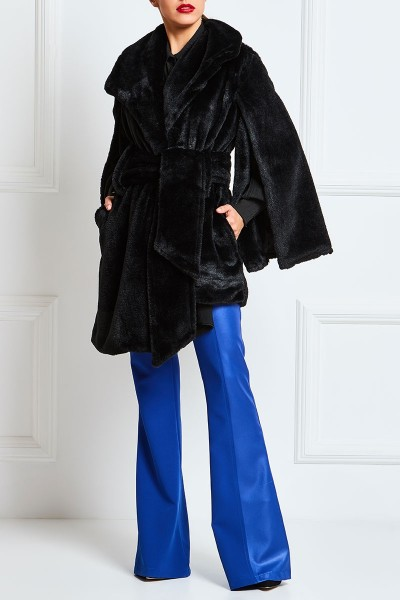Faux Fur Coat With Split Bell Sleeves