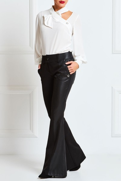 Flared Pants With Leather Chiffon Detail