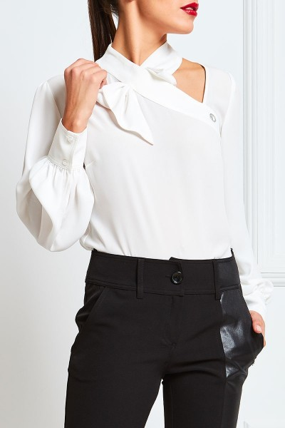 Silk Georgette Blouse With Lacing Collar