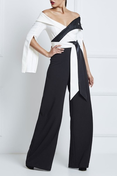 Split-Sleeve Off-The-Shoulder Jumpsuit With Leather Belt