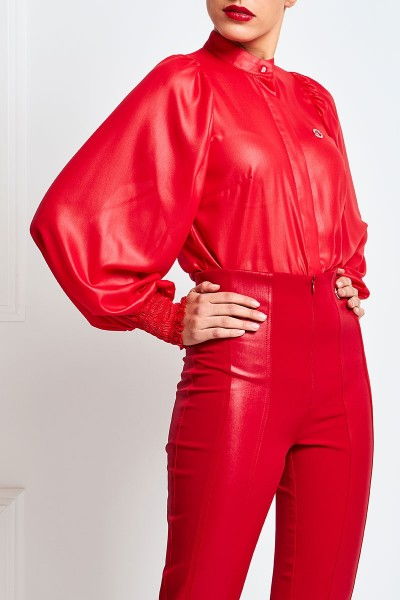 Leather Chiffon Shirt With Mao Collar And Puffed Sleeves