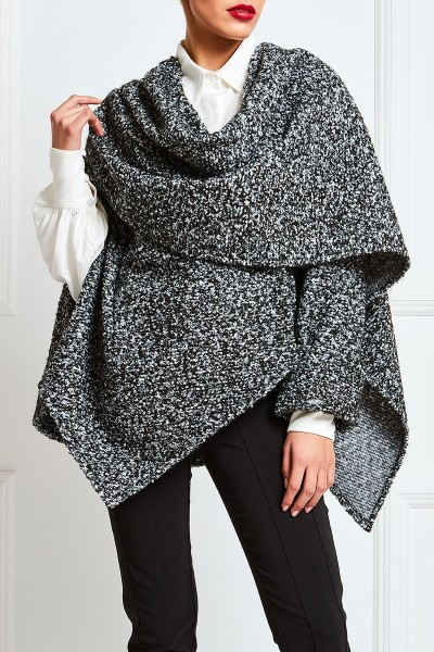 Boucle Wool Layered Cape With Statement Sleeve