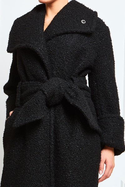 Boucle Wool Coat With Oversized Belt And Asymmetric Lapels