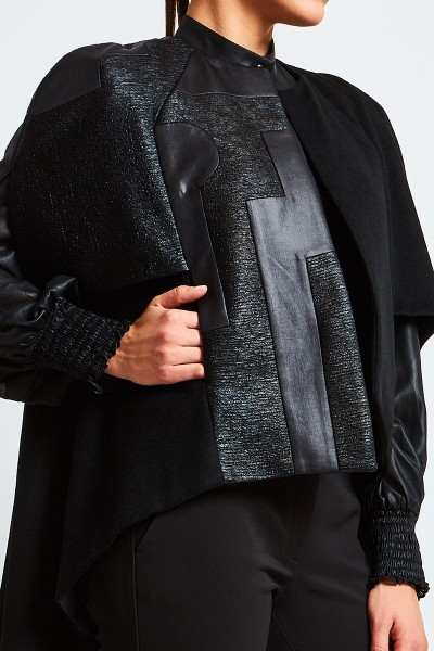 Asymmetric Wool Cape With Geometric Brocade Detail