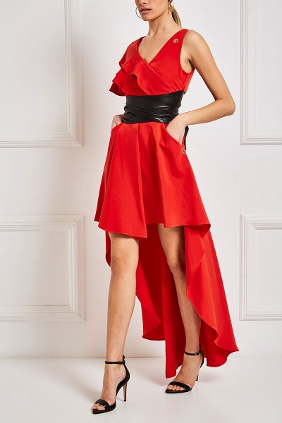 Asymmetric Hemline Skirt With Front Pleat