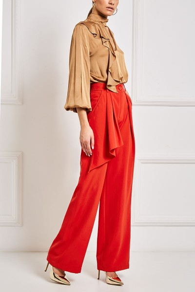 Palazzos With Flounce And Pleat Details