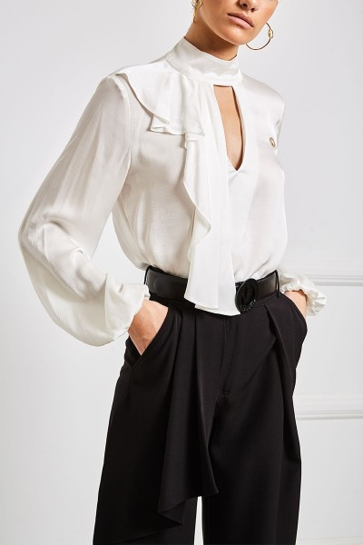 Satin Blouse With High Keyhole Neckline And Plunging Back