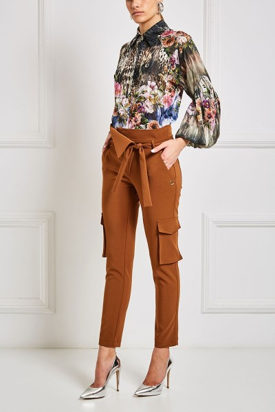 Belted Cargo Pants With Overlap Waist