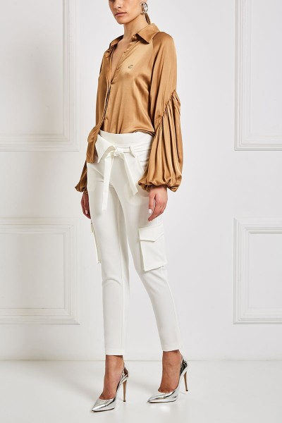 Collared Satin Shirt With Bishop Sleeves