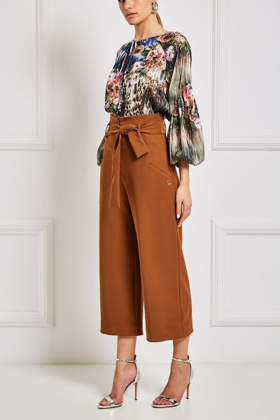High-Rise Belted Culottes With Slash Pockets