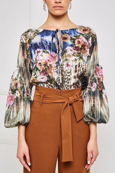 Chiffon Blouse With Bishop Sleeves And Tie Neckline