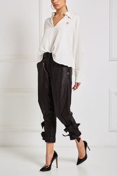 Pleat Front Leather Joggers With Ankle Fastening Straps
