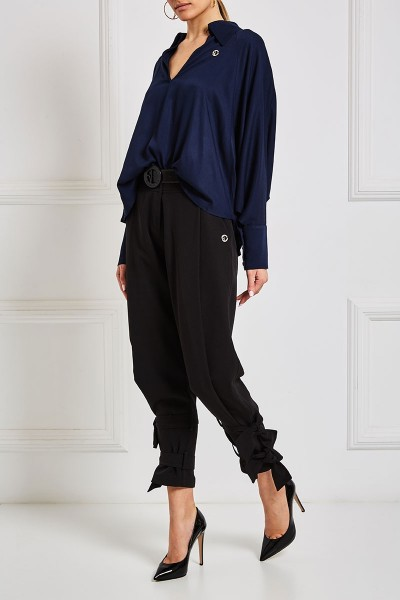 Plunging Collar Blouse With Dolman Sleeves