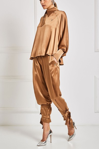 Pleat Front Satin Joggers With Ankle Fastening Straps