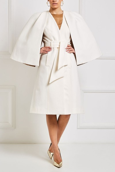 Wool Blend Belted Cape Coat