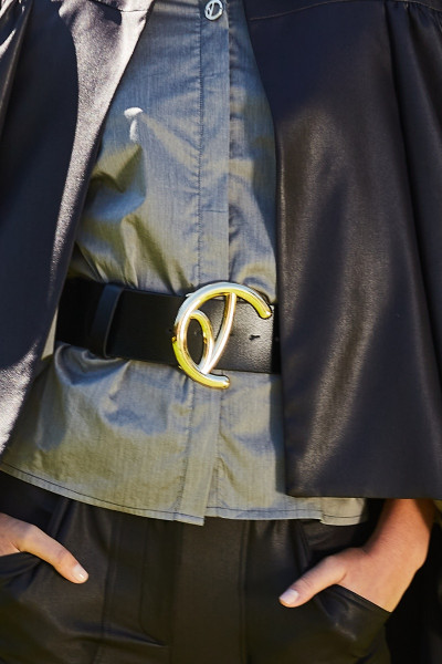 Leather Belt with Big Gold Monogram Buckle