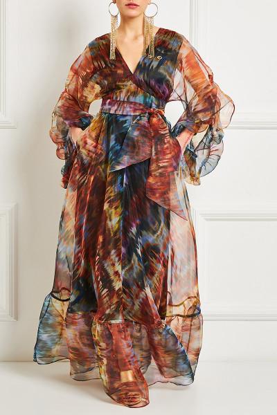 Organza Maxi Dress With Asymmetric Balloon Sleeves And Frill-Trim Ruffed Hem