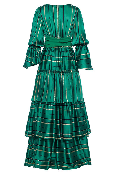 Multi-Tiered Ruffled Maxi Dress With Puffed Bell Sleeves