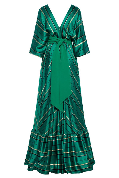 Plunging Neckline Striped Maxi Dress With Long Puffed Dolman Sleeves And Frill-Trim Ruffled Hem