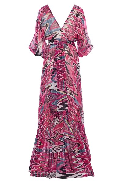 Plunging Neckline Printed Maxi Dress With Long Puffed Dolman Sleeves And Frill-Trim Ruffled Hem