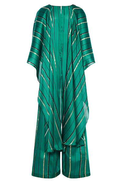 Wrap-Effect Striped Jumpsuit With Impressive Long Back