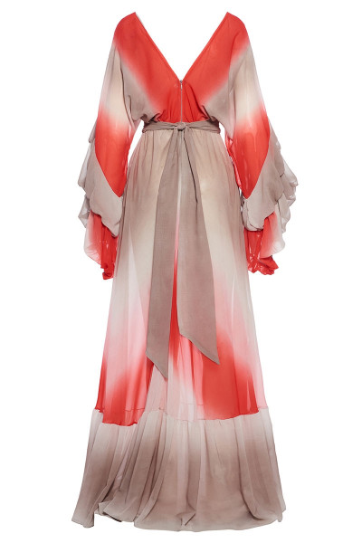 Chiffon Maxi Dress With Asymmetric Balloon Sleeves And Frill-Trim Ruffed Hem