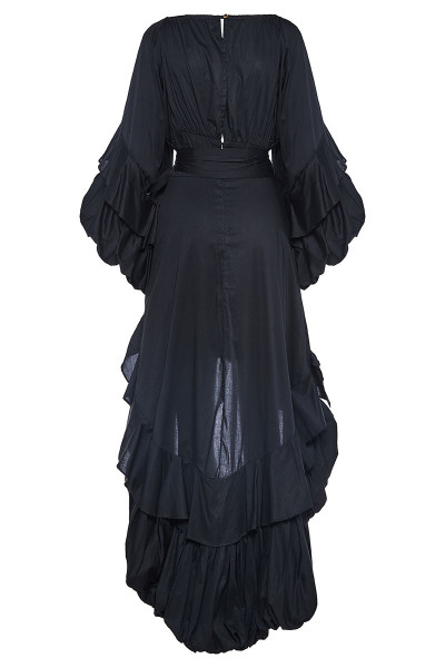Off-The-Shoulder Tiered Ruffle Dress With Asymmetric Balloon Hem