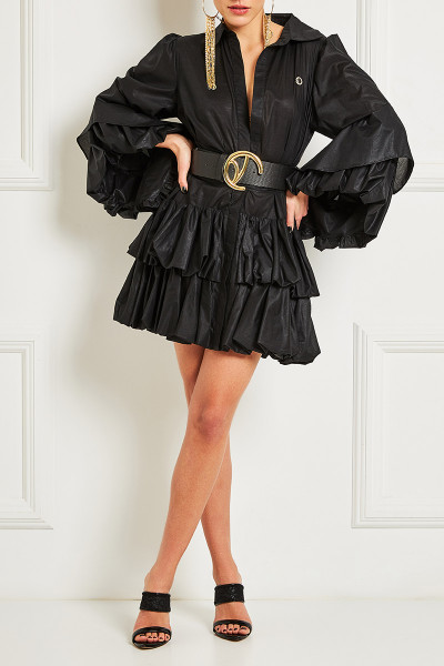 Short Semizie Balloon Dress With Impressive Sleeves And Inset Belts