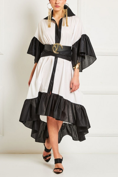 Tiered Ruffled Shirt Dress With Asymmetric Hem And Inset Belts