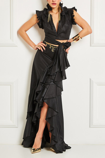 Open-Back Wraparound Crop Top With Ruffle Detail Shoulders